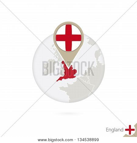 England Map And Flag In Circle. Map Of England, England Flag Pin. Map Of England In The Style Of The