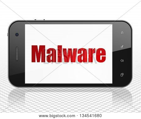 Security concept: Smartphone with red text Malware on display, 3D rendering