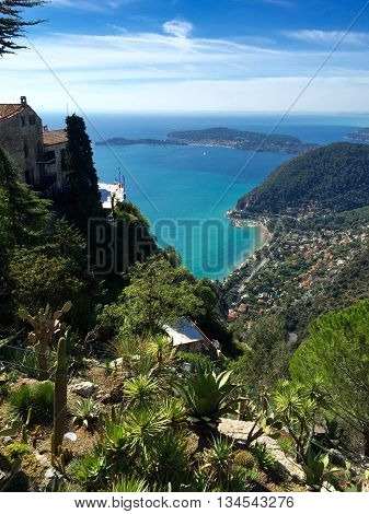 VIEW OF MEDITERRANEAN , BOTANICAL GARDEN  EZE VILLAGE, SOUTH OF FRANCE