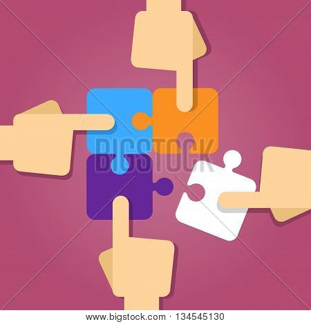 Vector stock of four hands putting puzzle pieces together teamwork concept
