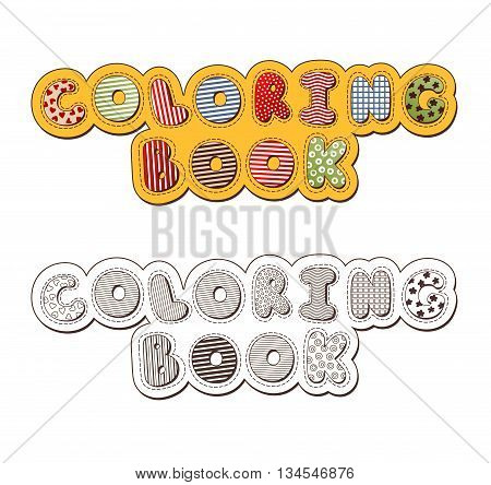 Coloring Book Header. Vector Colorful And Monochrome Illustrations