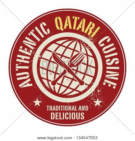 Abstract stamp or label with the text Authentic Qatari Cuisine written inside, vector illustration