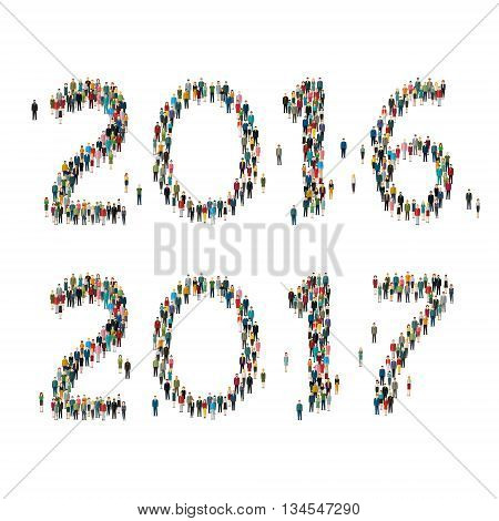 2017 Numbers formed out from celebrating people. Top view.  Flat design, vector illustration.