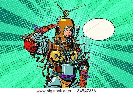 Retro woman salutes astronaut or deep sea diver pop art retro vector. Science fiction and adventure. The woman professional