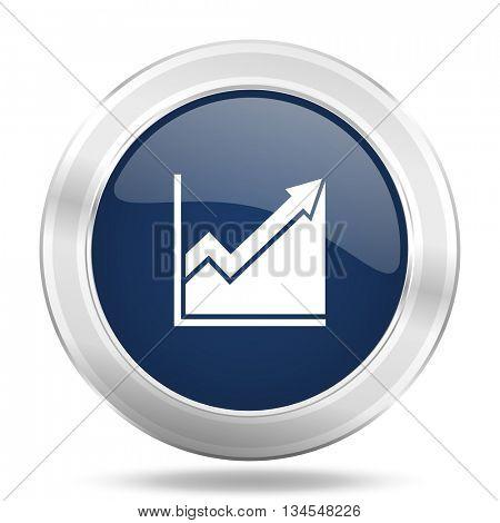 histogram icon, dark blue round metallic internet button, web and mobile app illustration
