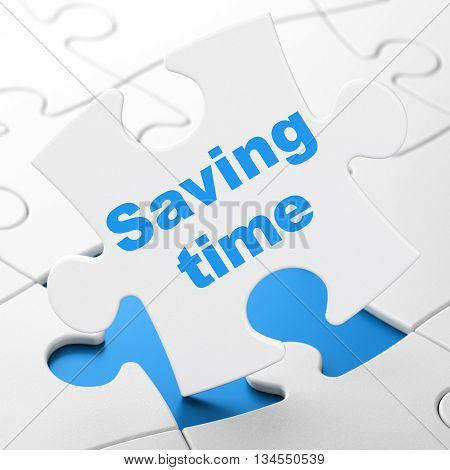 Time concept: Saving Time on White puzzle pieces background, 3D rendering