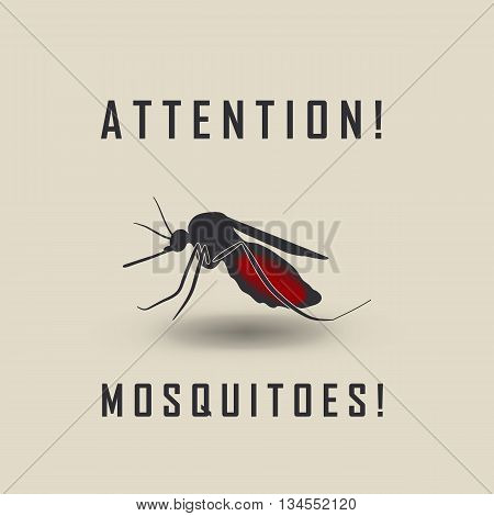 The Mosquitoes Stop Sign - Vector Image Of A Mosquito And The Risk Of Malaria