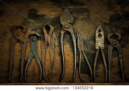 Various old and used pliers - digitally altered
