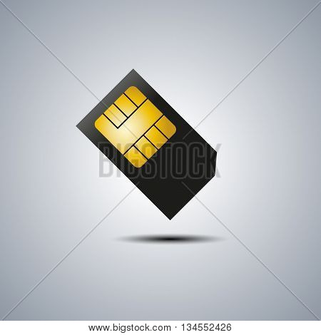 Realistic sim card with shadow vector illustration.