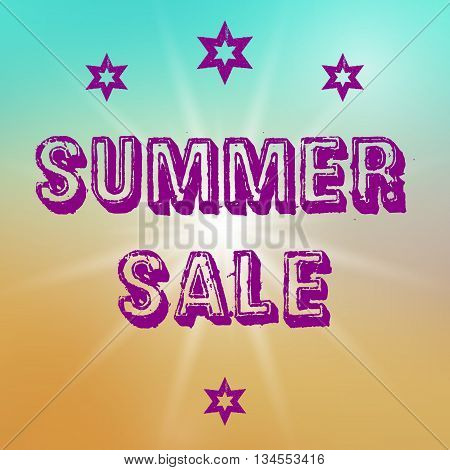 Vector summer sale template. Summer sale template on colorful background. Template with big sun object. Sale text template in purple color. Sale card template for various use esp. for discount events.