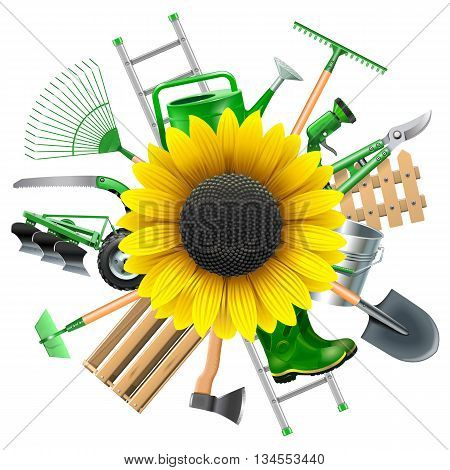 Vector Garden Equipment with Sunflower isolated on white background