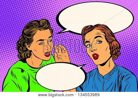Two retro girlfriends know a secret pop art vector. Rumours, news and gossip. Lifestyle
