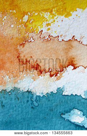 Macro Yellow Orange Blue and White Watercolour Background