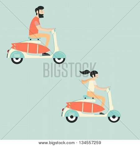 young couple riding scooter with surf set. Summer travel