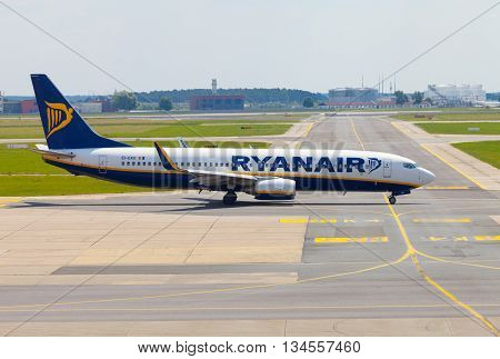 BERLIN / GERMANY - JUNE 4 2016: Boing 737 - 8AS from Ryanair on airport schoenefeld berlin / germany at june 4 2016