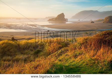 Sunrise At Oregon Coast, Pacific Ocean, Cannon Beach