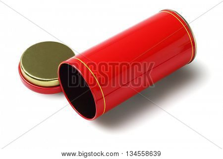 Empty Red Oriental Metal Container Lying on White Background