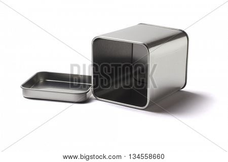 Open Metal Tin Can Lying on White Background