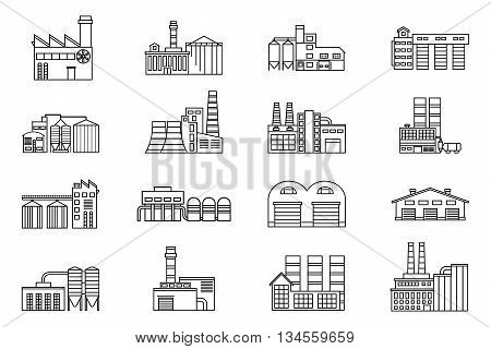 Industrial and manufacturing factory building. Monochrome outline vector icons