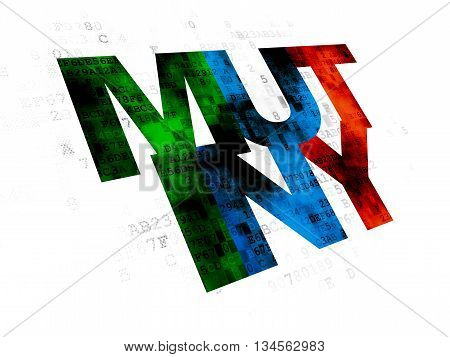 Politics concept: Pixelated multicolor text Mutiny on Digital background