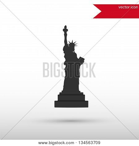 Statue of Liberty Icon. Black silhouette statue of liberty. Flat design style. Liberty statue New York city. Usa symbol.