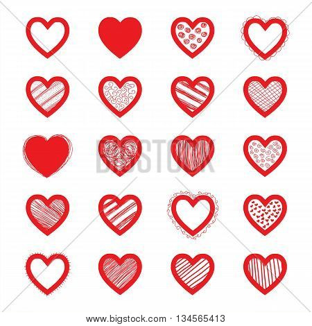 Hand Drawn Vector Heart Set. Easy to manipulate, re-size or colorize.