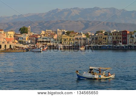 CHANIA, GREECE - AUGUST 12: Harbor of Chania, Greece on August 12, 2014. Chania is one of the most popular tourist place on Crete island in Greece.