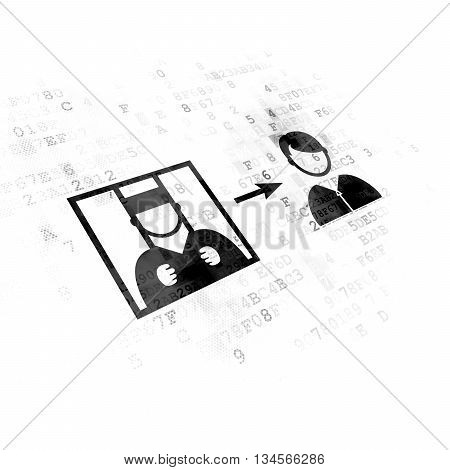 Law concept: Pixelated black Criminal Freed icon on Digital background
