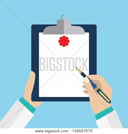 Clipboard in his hand doctor. Doctor takes notes in a Clipboard. Clipboard, hand, pen. Medical report, medical background. Vector flat design. Patient care. Blank clipboard template.