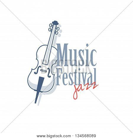 Emblem with contrabass for jazz music festival. Vector illustration isolated on white background.