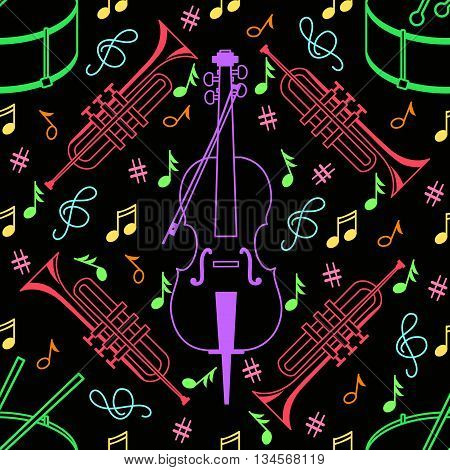 Seamless pattern with drum tube and cello in a line style on a black background. Music vector background in dark tones.