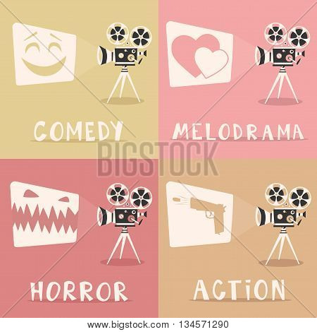 Movie genres. Retro movie projector poster. Cartoon vector illustration. Cinema motion picture. Film projector with film reels. Hand drawn lettering. Cinema and popcorn
