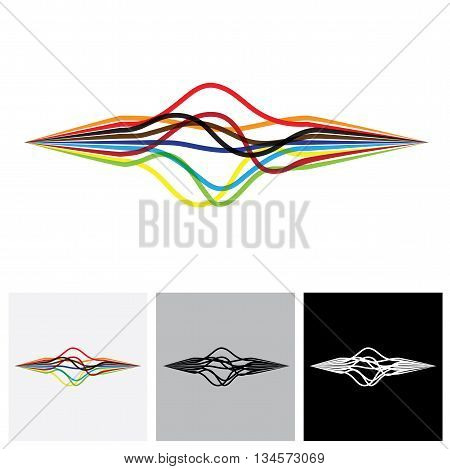 Abstract Colorful Wavy Wires Or Ribbons Or Lines - Vector Graphic
