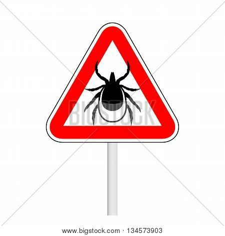 vector image of a tick in a rewarning road sign - ticks stop sign