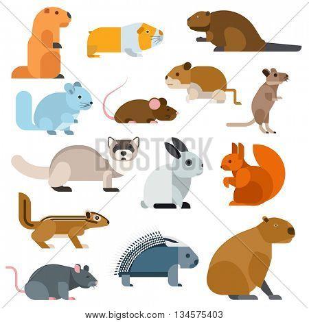 Cartoon rodents animals vector set.