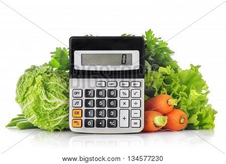 Green vegetables calculator isolated on a white background the concept of calories weight loss and healthy diet