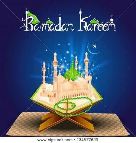 vector illustration of Quran on Eid Mubarak
