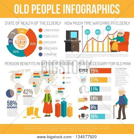 Old age benefits personal assistance and life expectancy  infographic report poster with diagrams flat abstract vector illustration