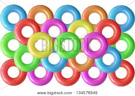 Group of colorful  swim rings was derived from the inner tube, the inner, enclosed, inflatable part of older vehicle tires.