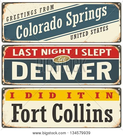 Vintage metal signs collection with USA cities. Travel souvenirs on grunge damaged background. Travel theme.