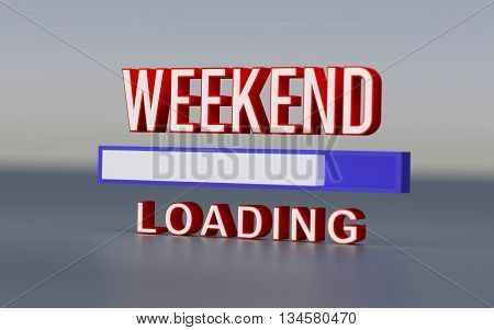 Rendered weekend loading text and progress bar.