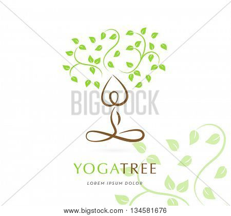 YOGA TREE , VECTOR LOGO / ICON