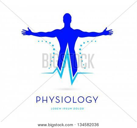 MAN SILHOUETTE WITH STRETCHED ARMS COMBINED WITH HEARTBEAT SYMBOL , VECTOR LOGO / ICON  , BRIGHT SATURATED BLUE COLORS