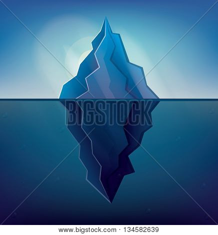 Iceberg on Blue Background. Low Poly Iceberg. Iceberg with Underwater Part.