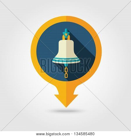 Bell marine vector pin map flat icon with long shadow. Map pointer. Map markers. Holiday. Summertime. Vacation eps 10