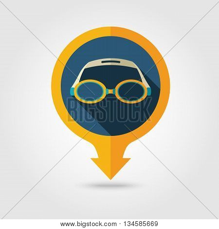 Swimming Goggles vector pin map flat icon with long shadow. Beach Map pointer. Summer Map markers. Holiday. Summertime. Vacation eps 10