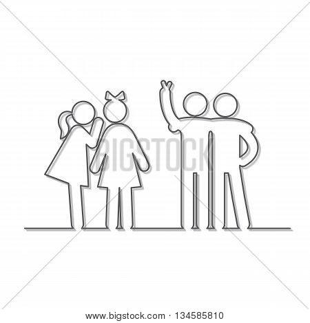 Friendship linear icons. Girlfriends gossiping, friends fun watching