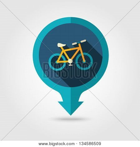 Bicycle vector pin map flat icon with long shadow. Beach Map pointer. Summer Map markers. Holiday. Summertime. Vacation eps 10