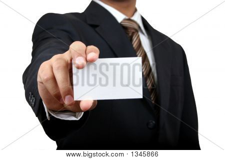 Business Man Holding Name Card. Contains Clipping Path.