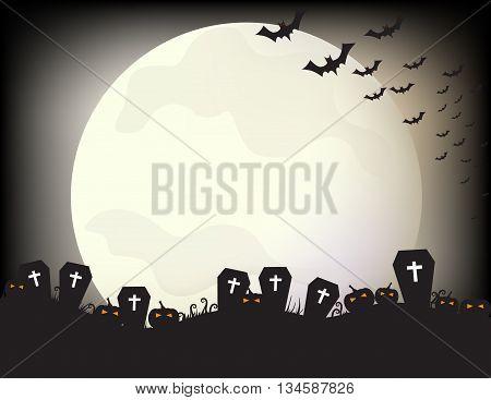 graveyard bat pumpkin and moon in the night of Halloween day.